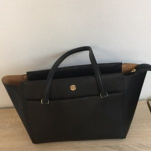 Tory Burch small Parker Leather Tote Bag Black